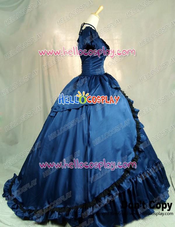 Victorian Southern Belle Ball Gown Reenactment Halloween Blue Lolita ...