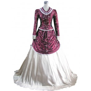 Victorian Lolita French Bustle Gothic Lolita Dress Wine Floral