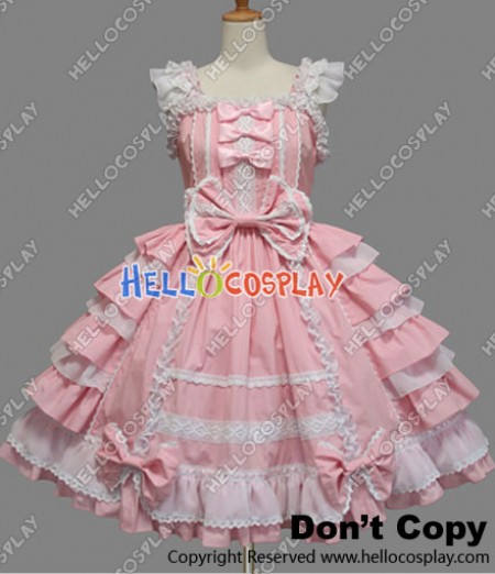 Sweet Lolita Gothic Punk Jumper Skirt Pink Frill Dress