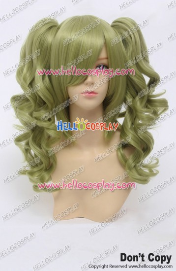 Wig Lolita Cosplay Curly Clip On Double Ponytails Golden Green