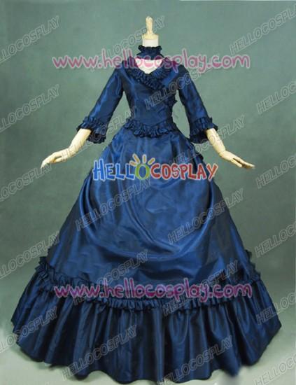 Victorian Lolita Bustle Period Reenactment Gothic Lolita Dress Navy Blue
