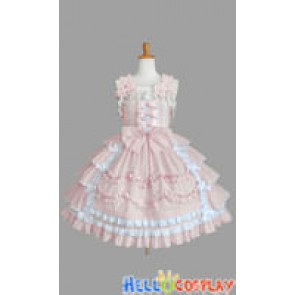 Sweet Lolita Gothic Punk Jumper Skirt Luxury Pale Pink Dress