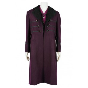 Doctor Cosplay Dr 11th Purple Trench Coat Vest Costume