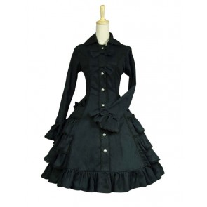 Gothic Lolita Cosplay Victorian Coat Reenactment Steampunk Stage Black Dress Costume