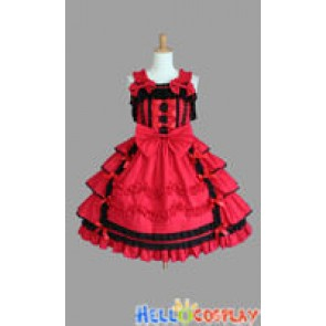 Sweet Lolita Gothic Punk Classical Red Dress