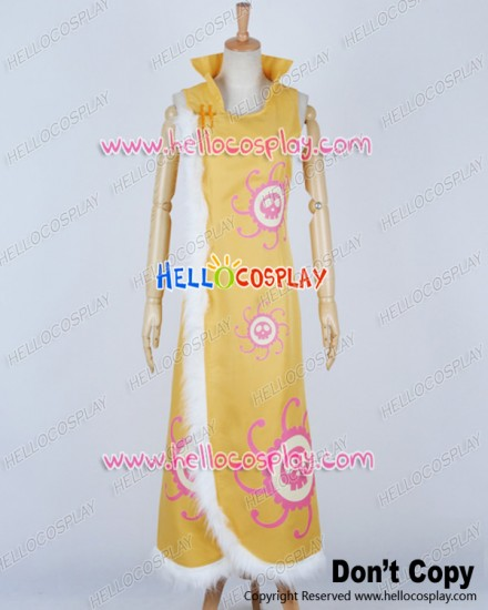One Piece Cosplay Pirate Empress Boa Hancock Yellow Cheongsam Dress Costume