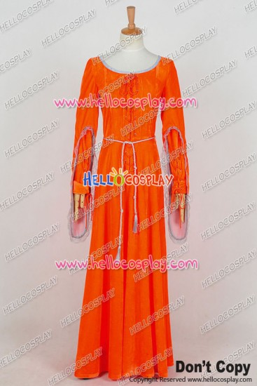 Doctor Season 8 Robot Of Sherwood Clara Oswald Orange Red Dress Cosplay Costume