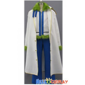 One Piece Cosplay Smoker Navy Costume Green Fur Collar White Coat