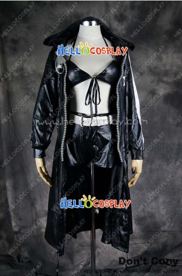 Vocaloid 2 Cosplay Black Rock Shooter Big Zipper Leather Costume