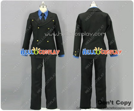 One Piece Cosplay Sanji Costume Blue Shirt Black Suit