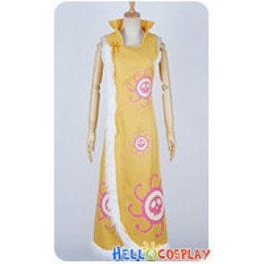 One Piece Cosplay Pirate Empress Boa Hancock Yellow Cheongsam Dress Costume