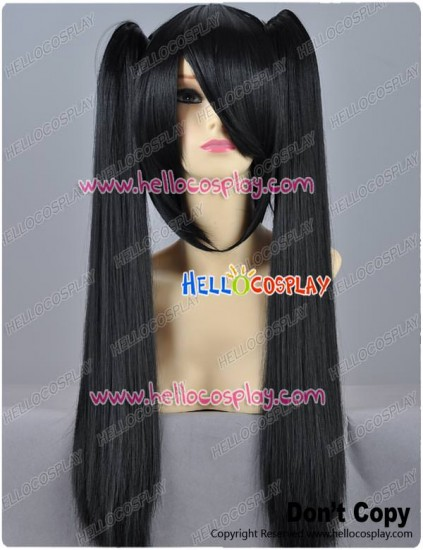 Black Cosplay Wig Clip On Ponytails