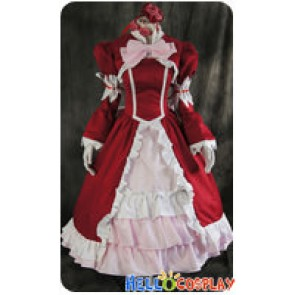Black Butler Cosplay Elizabeth Ethel Cordelia Midford Red Dress Costume