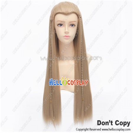 The Hobbit 2 The Lord Of The Rings Legolas Wig Cosplay Pigtail Long Light Brown