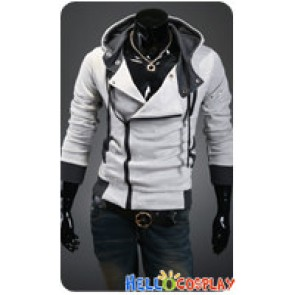 Assassin's Creed Cosplay Jacket With Hood Costume Light Gray