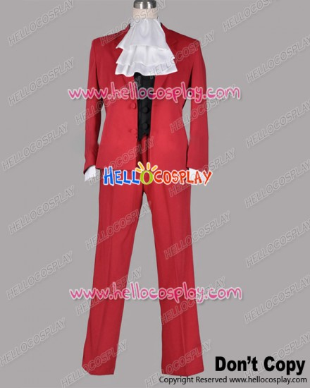 Ace Attorney Gyakuten Saiban Cosplay Miles Edgeworth Red Suit Costume
