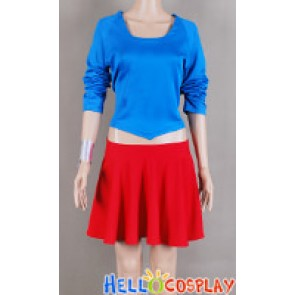 Smallville Supergirl Cosplay Blue Red Girl Uniform Costume Dress