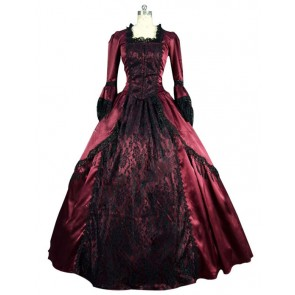 Victorian Lolita Marie Antoinette Lace Gothic Lolita Dress Burgundy