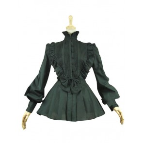 Victorian Lolita Reenactment Romantic Ruffle Blouse Gothic Lolita Dress Black