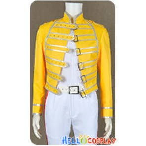 Queen Band Lead Vocals Freddie Mercury Jacket Cosplay Costume Yellow