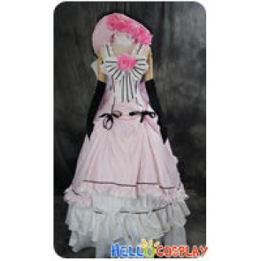 Black Butler Cosplay Ciel Phantomhive Pink Flower Dress Costume