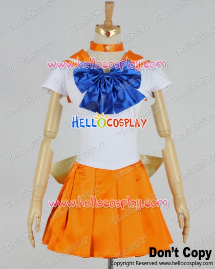Sailor Moon Cosplay Venus Minako Aino Orange Dress Costume