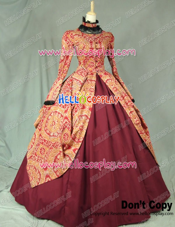 Victorian Gothic Formal Ball Gown Reenactment Clothing Stage Lolita
