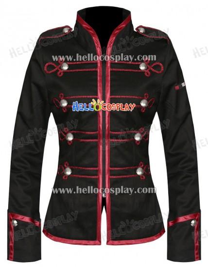 Black Red My Chemical Romance Ladies Military Jacket