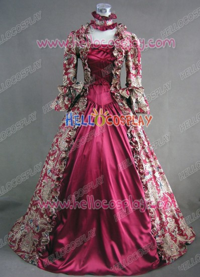 Victorian Lolita Reenactment Stage Antique Gothic Lolita Dress Wine Floral