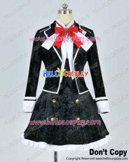Diabolik Lovers Cosplay Yui Komori Black Uniform Costume Silk Velvet Ver