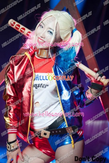 Suicide Squad Batman Harley Quinn Cosplay Costume Bright Leather