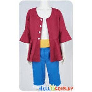 One Piece Two Years Later Cosplay Monkey D Luffy Costume Red Suit