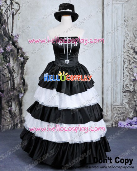 One Piece Cosplay Perona Costume Formal Dress Black White