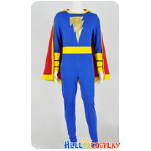Captain Marvel Cosplay Jr Junior Freddy Freeman Blue Jumpsuit Costume