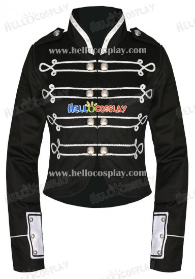 Black Silver My Chemical Romance Crop Military Jacket