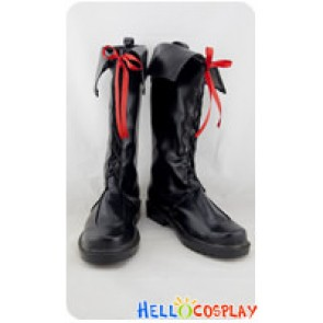 AKB0048 Cosplay Shoes Red Ribbon Black Long Boots