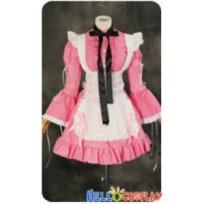 Maid Cosplay Pink White Long Sleeves Dress Sweet Costume