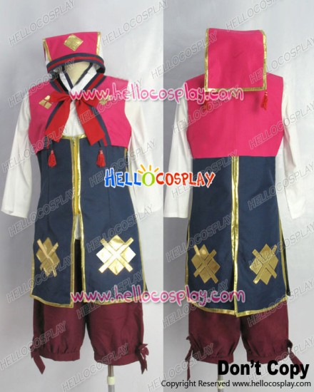 Monster Hunter 3rd Cosplay Nadesiko Uniform Costume Red Ver Gold