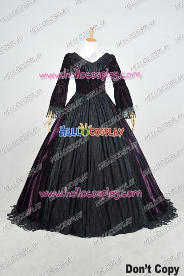 Lolita Dress Victorian Lolita Reenactment Period Velvet Lace Cosplay Costume
