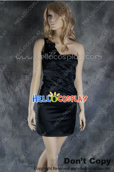 Party Cosplay Black Princess Ball Gown Formal Shoulder Dress Costume