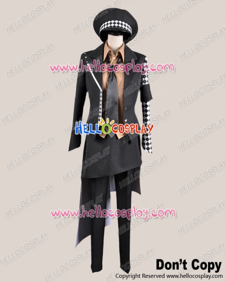 Amnesia Cosplay Ukyo Black White Plaid Costume Police Uniform