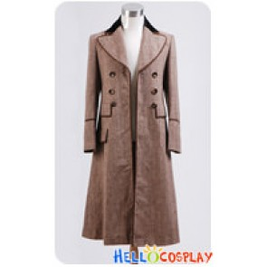 Doctor Cosplay Dr Ecru Brown Long Wool Trench Coat Costume