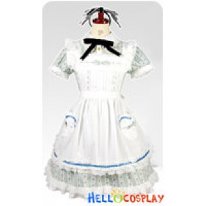 Lovely Alice Blue Floral Cosplay Maid Dress Costume
