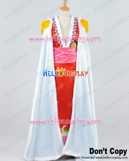 One Piece Cosplay Pirate Empress Boa Hancock White Cloak Red Dress Costume