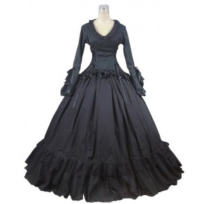 Victorian Gothic Lolita Ball Gown Prom Brocade Black Dress