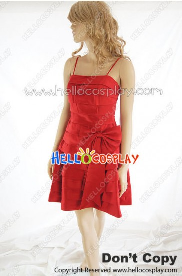 Party Cosplay Red Lady Ball Gown Sling Dress Costume