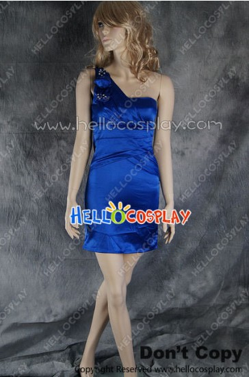 Party Cosplay Blue Princess Ball Gown Formal Shoulder Dress Costume