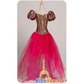 Victorian Princess Brocade Corset Ballet Stage Hotpink Floral Dress Costume