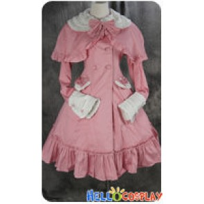 Gothic Lolita Cosplay Pink Jacket Dress Costume