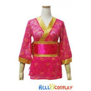 Angel Feather Cosplay Lace Kimono Dress Costume Rose Yellow